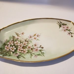 Handpainted serving dish pink flowers S.Knight